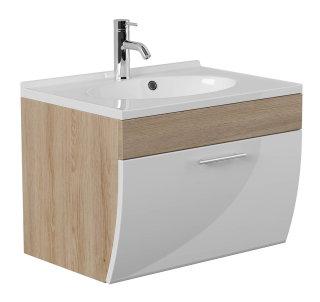 Waschplatz Salona 70cm mit Klappe | inkl. Waschbecken | sonoma-eiche weiß