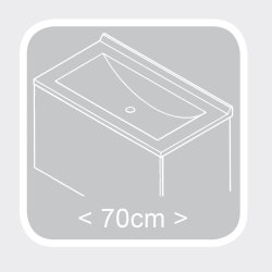 Waschplatz Salona 70cm mit Klappe | inkl. Waschbecken | walnuss-weiß