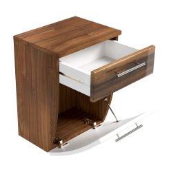 Badezimmer kompakter Unterschrank Salona | walnuss-weiß