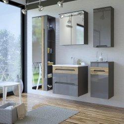 Badezimmer Unterschrank GALAXY | 1 Türe & 1 Schubfach | graphitgrau - Wotan-eiche