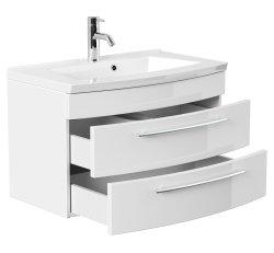 Badset LUNA 3-teilig | 80cm Waschplatz | hochglanz-weiss