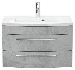 Badset LUNA 3-teilig | 80cm Waschplatz | Beton-Optik