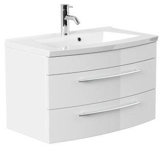 Badmöbel LUNA | 80cm Waschplatz mit Waschbecken | weiss-hochglanz