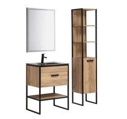 Badmöbel-Set Brooklyn 3-teilig | 60cm Stand-Waschplatz | Industrial | Goldeiche-schwarz